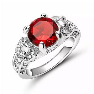 Red ruby white rhodium plated ring 9